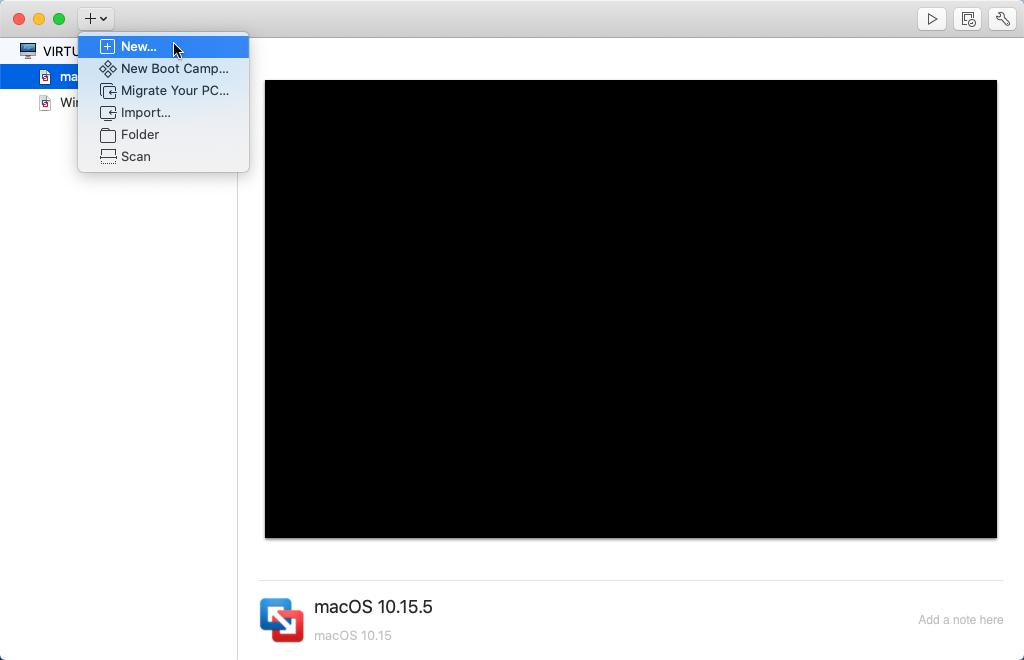 Create new VM in VMware Fusion.