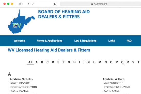 WV Board of Hearing Aid Dealers Feature